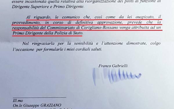SICUREZZA – Corigliano-Rossano avrà un Primo Dirigente di polizia